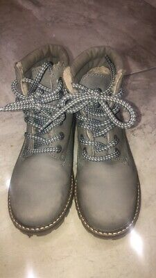 Girls Kids Next Ankle Boots Lace Up Faux Fleece Size 12 Grey Walking Boots USED