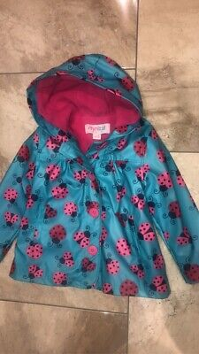 Girls Minizzz Raincoat Coat  Kids Ladybird Jacket Turquoise Pink Red Age 2-3