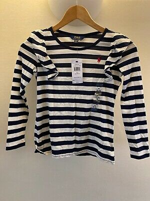 Bnwt Girls Ralph Lauren Navy Striped Frilly Top Age 8-10 Rrp £39