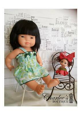 Miniland Doll summer dress green florals (Made In Perth)