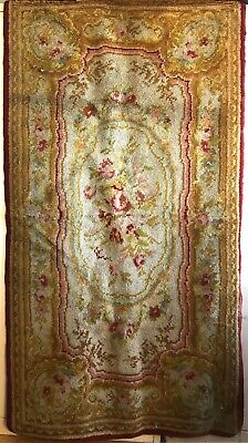 Beautiful 19th C. French Hand Knotted Aubusson Woolen Rug (2943)