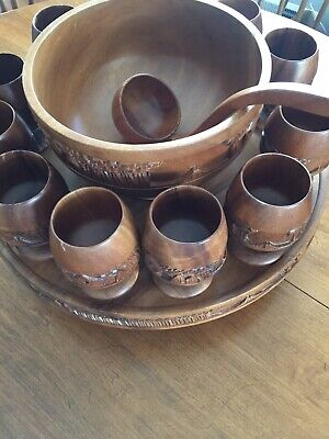 Mid Century Carved Wooden Tiki Punch Bowl Set Philippines Wood Party Set Hawaii