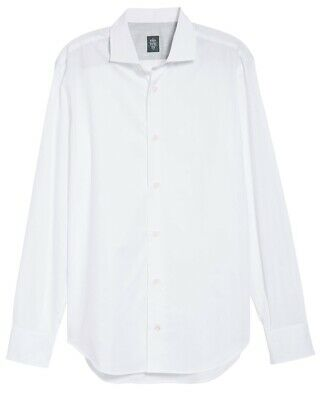 NWT $245 Eleventy Men's Slim Fit Cotton Dress Shirt in White Sz 16/41