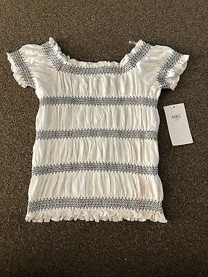 Bnwt Marks And Spencers Girls Stretchy Top Age 9-10 Yrs