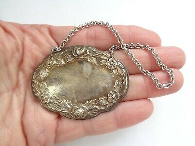 Old S.KIRK & SON STERLING SILVER Repousse DECANTER BOTTLE TAG LABEL no writing