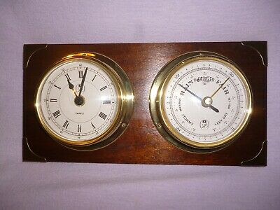 Brass Ships Clock and Barometer set by GB mounted on wood