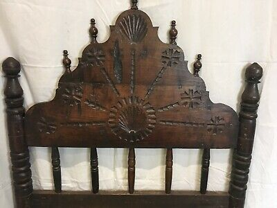 Antique 1850 Spanish Single Wood Carved Bed