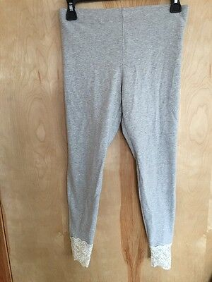 Ralph Lauren GIRLS Kids Grey Leggings With LACE HEM Unique NWOT