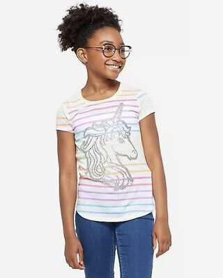 Justice Girl's Size 12 Glitter Rainbow Unicorn Graphic Tee New with Tags