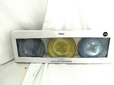 Next Set Of 3 Glass Button Bowls Trinkets Change Jewellery Brand New In Box