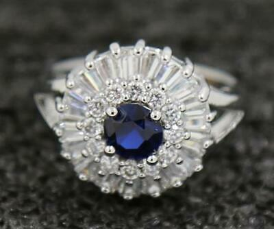 Attractive Engagement 2.28ct Natural Sapphire 14KT Solid White Gold Ring Size 8#