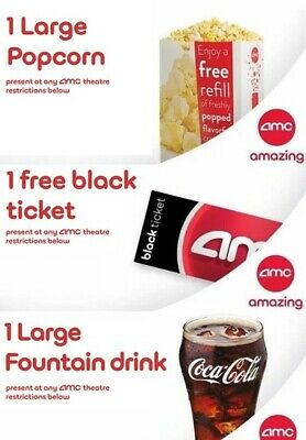 AMC theaters 1 black ticket, 1 large drink, 1 large popcorn. Digital Delivery.