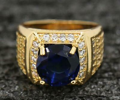 Elegant 3.77ct Natural Sapphire 14KT Solid Yellow Gold Halloween Gifts Ring 7#