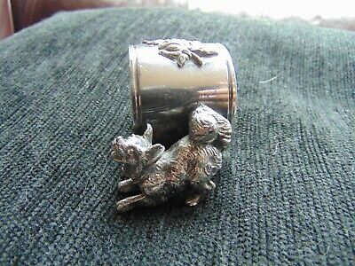 ANTIQUE - Victor Silver Co. - Silver Plated Delightful Napkin Ring - with Dog