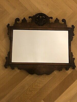 Antique 19th Century Victorian Fret Carved Mahogany Wall Mirror.