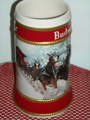 AUTHENTIC 2019 Budweiser Anheuser Busch  Holiday Christmas Beer Stein  w/Box