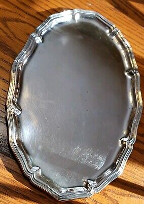 "Antique 800 SILVER 1800's TRAY Plate DISH 378grams 11 5/8"" x 7 5/8"""