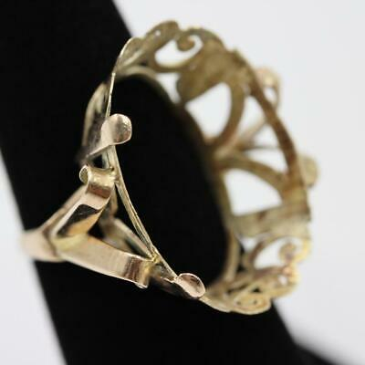 Massive Vintage Estate 14K Solid Yellow Gold Filigree 6.25 Mount For Oval Stone