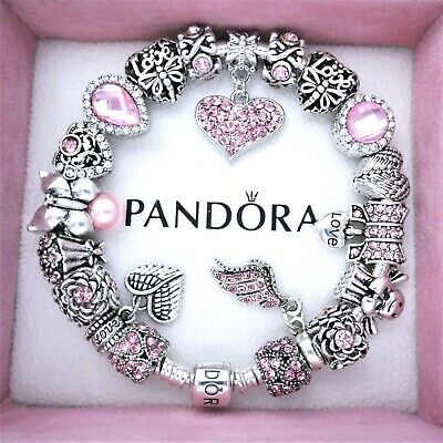 Authentic Pandora Charm Bracelet Silver with PINK LOVE ANGEL European Charms