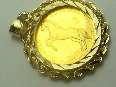 COLLECTIBLE SINGAPORE 1990 - 10 SINGOLD 1/10 OZ GOLD (YEAR OF THE HORSE) 6.4gm