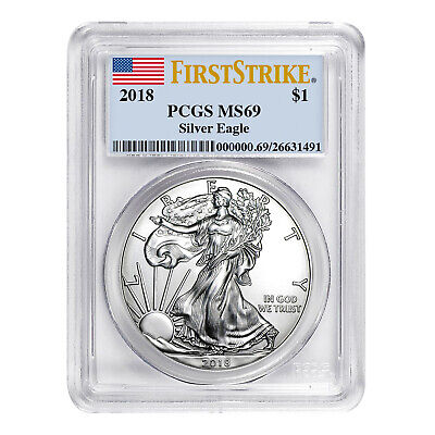 2018 $1 American Silver Eagle MS69 PCGS - First Strike