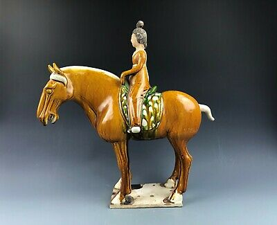 Rare Chinese Tang Tri-Color Glazed Ceramics Maid and horse Tang dynasty