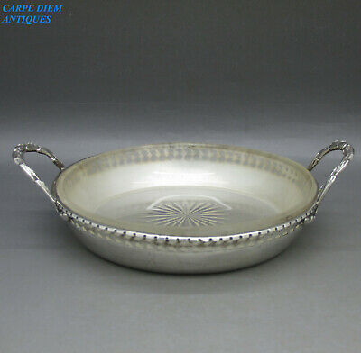 PRETTY SOLID STERLING SILVER & FROSTED GLASS OLIVE / NUT DISH 153g BIRM 1928