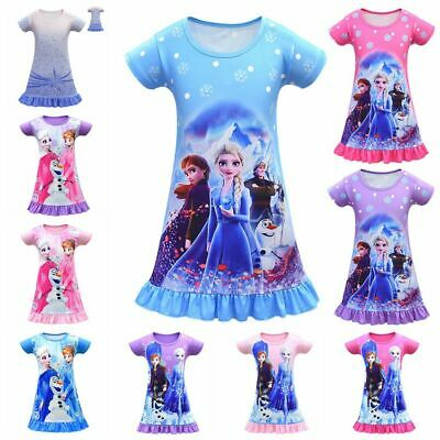 Girl's Kids Frozen Elsa Anna Beach Pyjama Dress Short Sleeve Nightie Nightdress