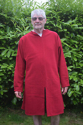 """Unisex Red wool Medieval Over tunic 54"""" chest,41"""" length, 26"""" sleeve Hand finish"""