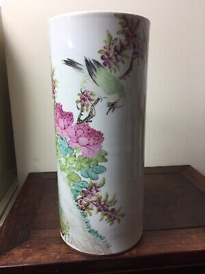 Antique Chinese Famille Rose Hat Stand Singed