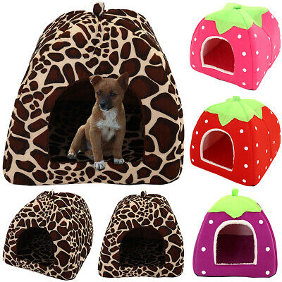 Dog Pet Cat Bed House Puppy Indoor Warm Kennel Cave Nest Pad Cushion Washable UK