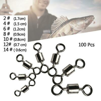 100pcs Snap Hooks Fastlock Fishing Barrel Swivel Safety Lure Connector 5Sizes UU
