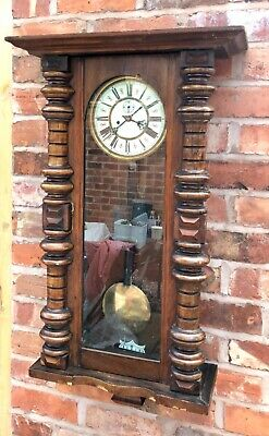 Antique Walnut Double Weighted Vienna Wall Clock Schlenker & Kienzle RESTORATION