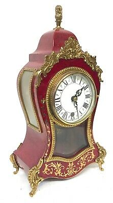 Stunning Boulle Style Metal Cased Vintage Mantel Clock By G Brunott Faux Shell