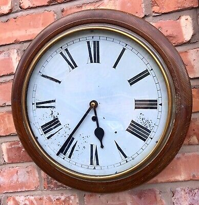 Antique Oak School Railway Wall Clock dil01