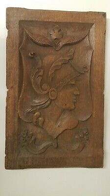 Lovely Antique C19th x 1 French Carved Oak Panel - Roman Soldier 25.5cm x 41cm