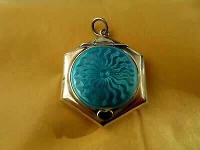 Antique Enamel Solid Sterling Silver Hallmarked Date 1925 Snuff Box / Pill Box