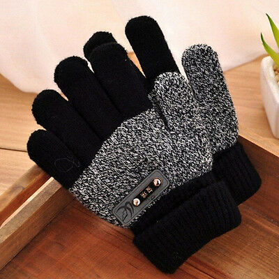 Fashion Boys Kids Warm Knitted  Gloves Winter Thick Full Mitten Finger Protector