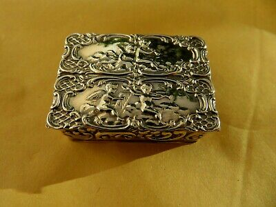 Solid Sterling English Silver Hallmarked Snuff / Pill Box Has Gold Gilt Inside