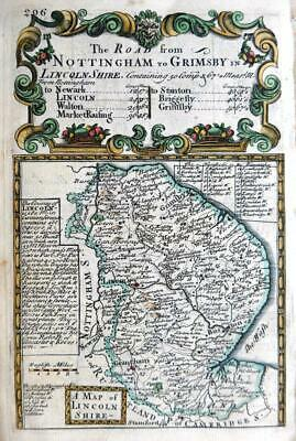LINCOLNSHIRE LINCOLN BOSTON  BY EMANUEL BOWEN GENUINE ANTIQUE ENGRAVED MAP c1731
