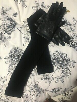Reiss Ladies Black Lambs Leather Gloves with Wool Long Sleeves- Size Xs/s