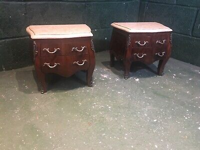 Pair  French Vintage Mini Marble Top Commode Tombeau