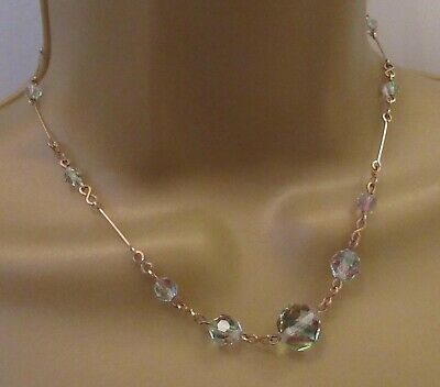JET FACETED GLASS BEAD gothic CHOKER silver plt NECKLACE art deco VINTAGE STYLE