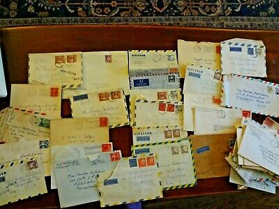 Vintage stamped envelope lot most foreign 60's 42 some with letters couple 30s