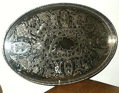 "Large 18"" Oval VINERS of Sheffield Chased Alpha Plate Gallery Serving Tray"