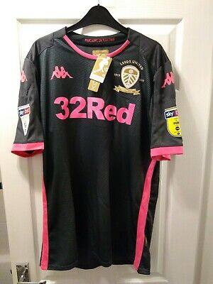 Leeds United 2019/20 Away Centenary Shirt Size Large With Patches On Sleeves