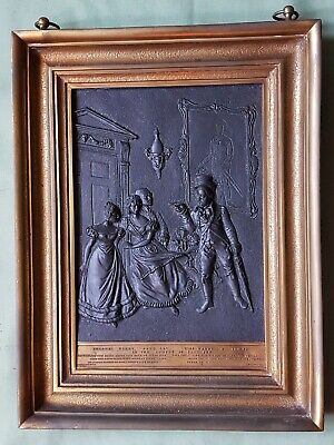 Interesting antique Bronze Plaque in Gilt Brass Frame, COMEDY BY PAUL PRY