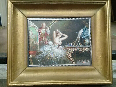 Antique Oil on Wood Painting w/Newer Gold Leaf Frame; Unsigned