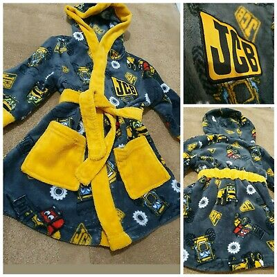 JCB Nutmeg Boys Dressing Gown Age 1.5 To 2 Years Soft Fleecey Robe Attached Belt