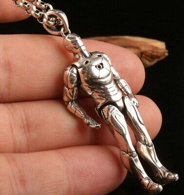 Unique Chinese 925 Silver Hand-Carved Iron Man Statue Pendant Custom Collection